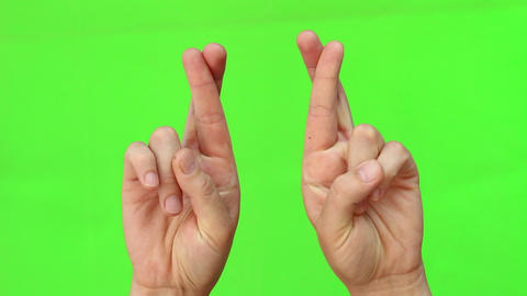 Good Luck Symbol Fingers Crossed Human Hands Live Action