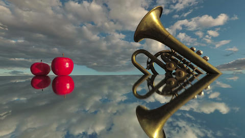Music concept. Brass wind instrument and red apples on mirror and clouds motion in space, time lapse Live Action