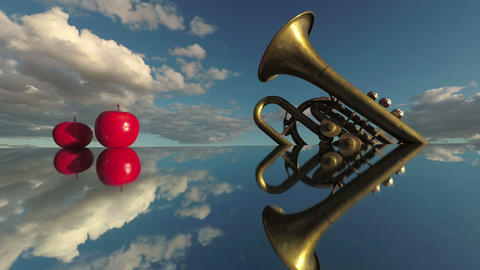 Music concept. Brass wind instrument and red apples on... Stock Video Footage