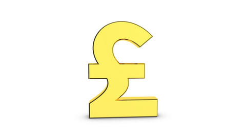 Golden sign pound sterling. Cyclic animation of a rotating golden sign of the Live Action