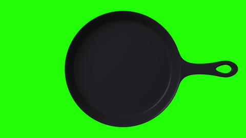 Cast iron skillet on green chroma key Animation