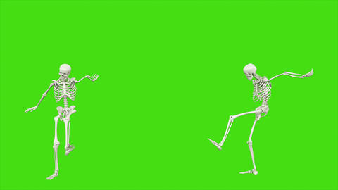 Skeleton jumps. Seamless loop animation on green screen Animation