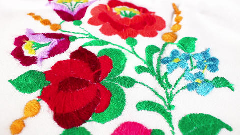 Flower embroidery hand made Grandma's hobby Live Action