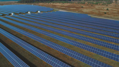 Panoramic view of a solar power plant. Shot on drone Footage