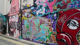 Graffiti, East End, London, UK stock footage
