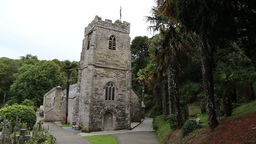 St Just in Roseland Church Cornwall UK Footage