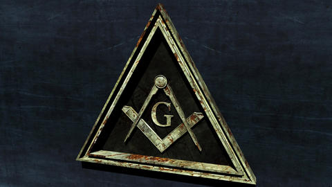 4K Rusty Free Masonic Grand Lodge Sign with Matte 2 stylized Animation