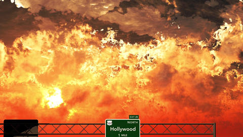4K Passing Hollywood USA Interstate Sign in the Sunset Animation