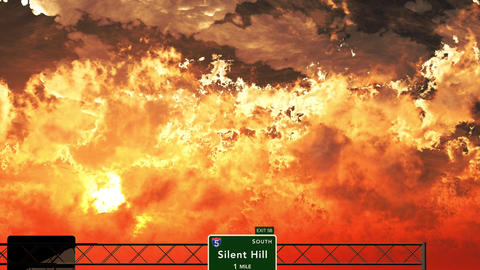 4K Passing Silent Hill USA Interstate Highway Sign in the Sunset Animation