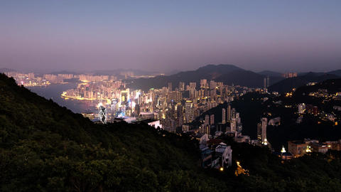 Cinemagraph Video Loop - Hong Kong Day to Night Timelapse Footage