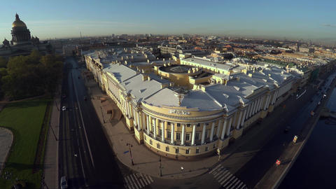 Aerial view. Senate and Synod. The Constitutional Court in St. Petersburg. 4K Live Action