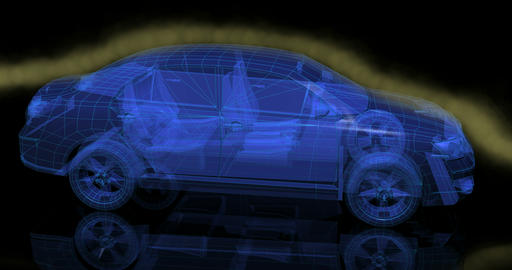 Wire view transparent car with wind tunnel effect Animation
