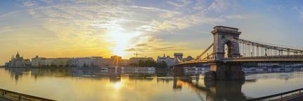 Budapest Hungary, sunrise panorama city skyline sunrise at Danube River Photo