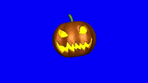 Evil Laughing Pumpkin makes Boo 3d-Animation (Blue Screen) CG動画素材