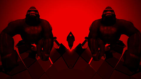 Flashing SIlver Gorilla Double Bodyguards Red Neon Strobe Loop LIMEART Live Action