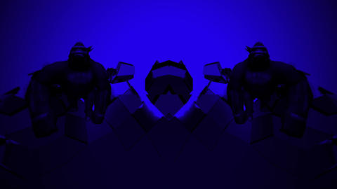Gorilla Blue Flashing Neon Lights Sea Bodyguards Strobe VJ Loop LIMEART Live Action