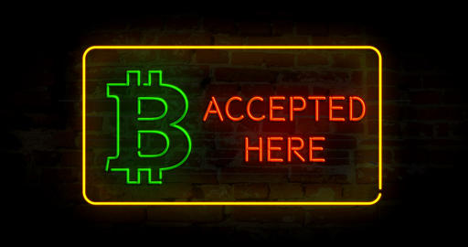 Bitcoin accepted here neon Animation