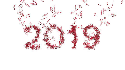new year 2019 made from musical notes 3D illustration Animation