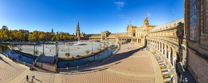 Panorama of Plaza de Espana in Seville, Andalusia, Spain Photo