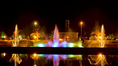 Night view of the dancing fountains, colorful spectacle at Batumi city center Live Action