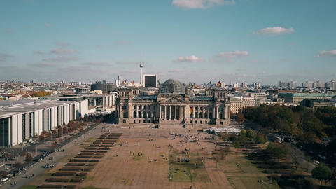 Aerial view of the Reichstag building in Berlin, the most popular German Footage
