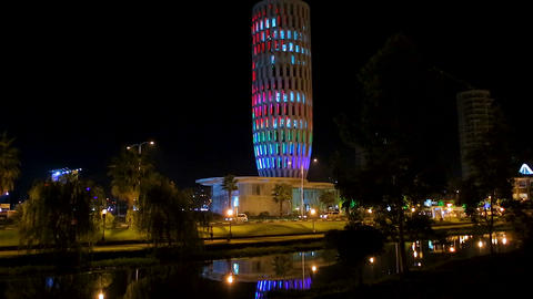 Ministry of justice building lighting at night, sightseeing place in Batumi Footage