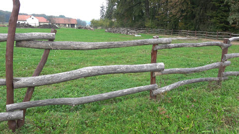 Rural wooden fence. Old farm GIF