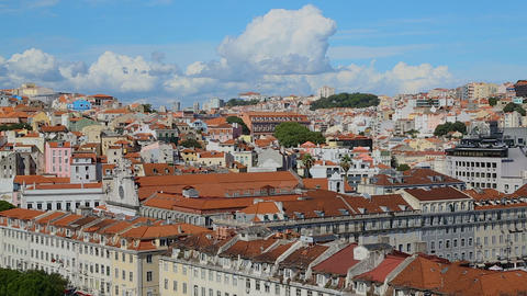 Saint George Castle occupying commanding hilltop looking and protecting Lisbon Live Action