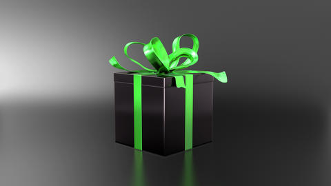 Elegant black gift box with ribbon opening Animación