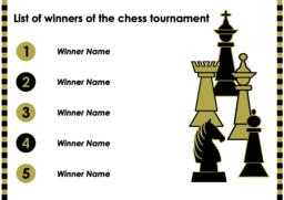 Chess tournament winner list with chess pieces, horizontal oriented template Vector