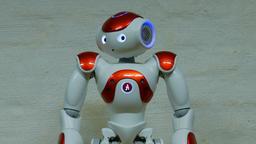 Humanoid Robot. Close up shot Footage