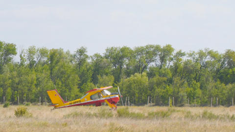 Light sport aircraft on the runway Live Action