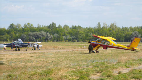 Light sport aircraft on the airfield Live Action