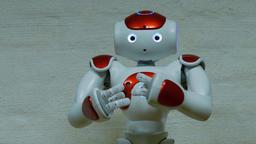 Humanoid robot is talking Footage
