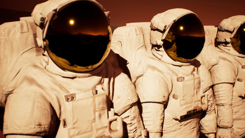 A detachment of astronauts preparing to explore the planet Mars Animation
