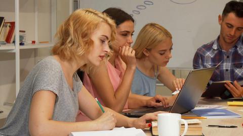 Group of students studying at university auditorium 영상물
