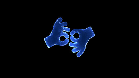 Symbol Sign language interpreting, solid. Blue Electric Glow Storm. looped Animation