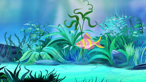 One Small Rose-yellow striped aquarium fish in a tank Animation