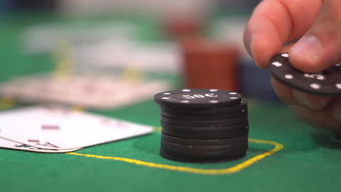 Gambler Playing with Poker Chip Footage