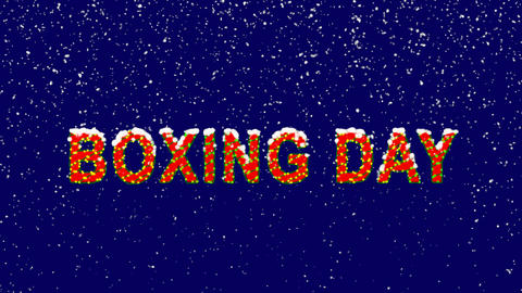 New Year text celebration BOXING DAY. Snow falls. Christmas mood, looped video. Animation