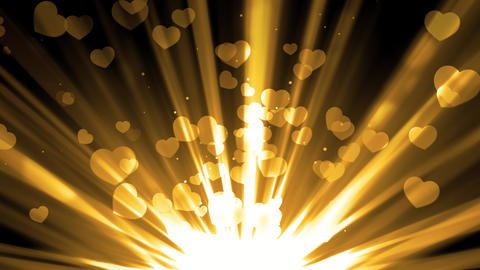 Golden Hearts Light Rays Animation
