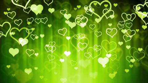 Falling Green Glassy Hearts Animation
