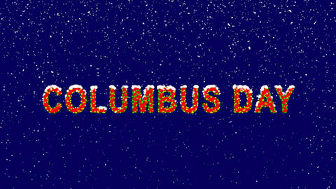 New Year text celebration COLUMBUS DAY. Snow falls. Christmas mood, looped Animation