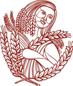 Demeter Goddess of Harvest Mono Line Vector