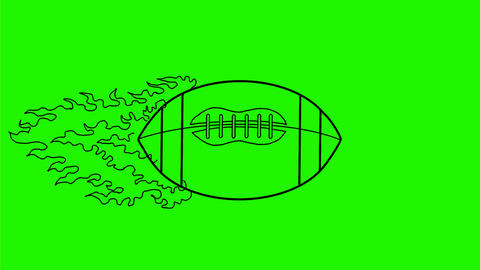 American Football Ball in Flames Drawing 2D Animation Animation