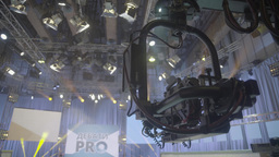 The camera on the gimbal in the TV Studio Footage