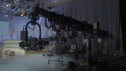 Panorama of a large empty TV Studio Footage
