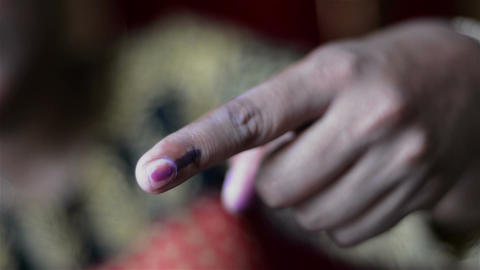 Mid close shot of first time Indian voter and identity of voting right Footage