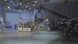 The camera on the crane in the TV Studio Footage