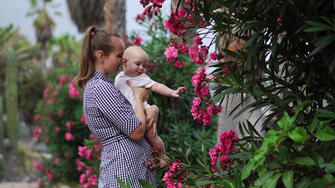 Mother to child plays a hugs and kisses baby around palm trees with flowers at Archivo